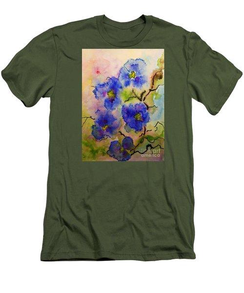 Blue Spring Flowers Watercolor Men's T-Shirt (Slim Fit) by AmaS Art