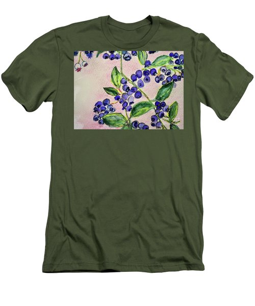 Men's T-Shirt (Slim Fit) featuring the painting Blueberries by Kim Nelson