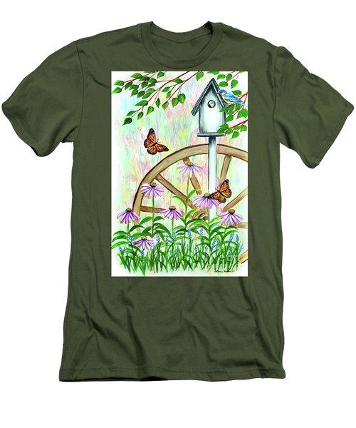 Bluebirds And Butterflies Men's T-Shirt (Athletic Fit)