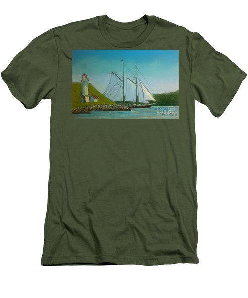 Bluenose Passing Georges Island Men's T-Shirt (Slim Fit) by Rae  Smith