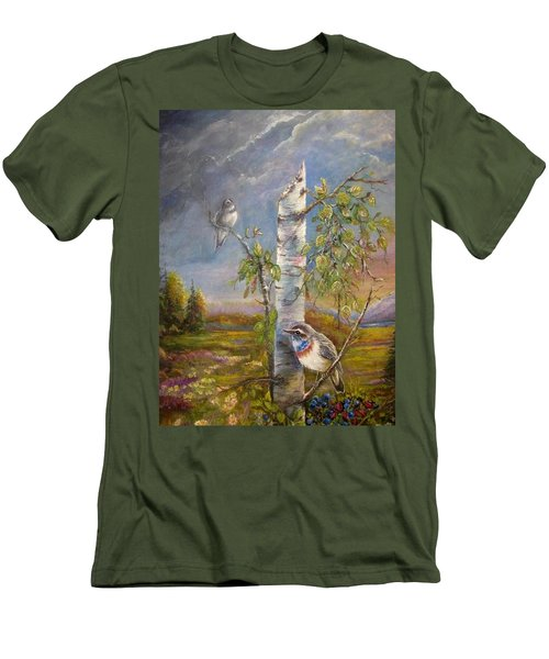 Men's T-Shirt (Slim Fit) featuring the painting Bluethroat On The Tundra by Patricia Schneider Mitchell