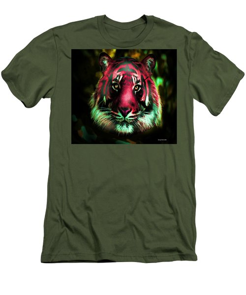 Men's T-Shirt (Slim Fit) featuring the photograph Blushing Tiger by George Pedro