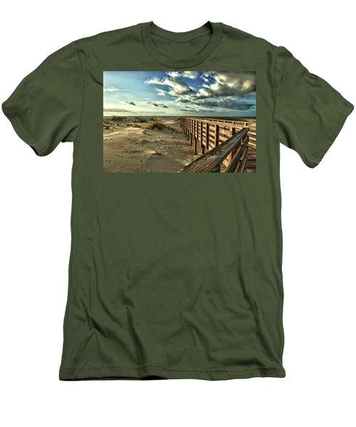 Boardwalk On The Beach Men's T-Shirt (Slim Fit) by Michael Thomas