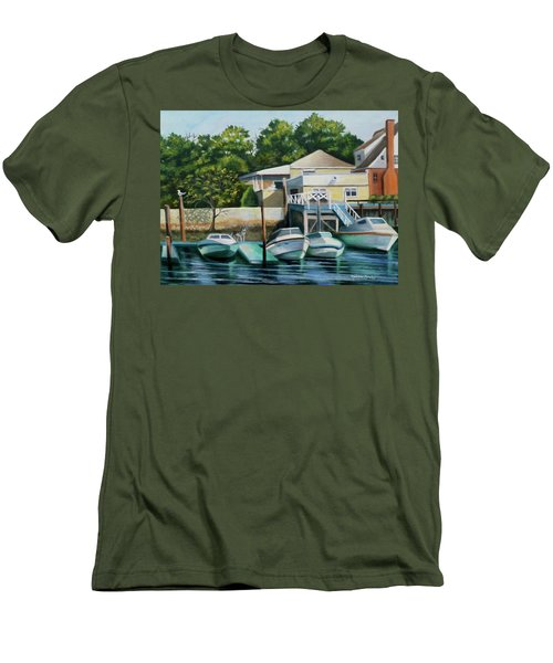 Boats On Crossbay Blvd. Men's T-Shirt (Slim Fit)