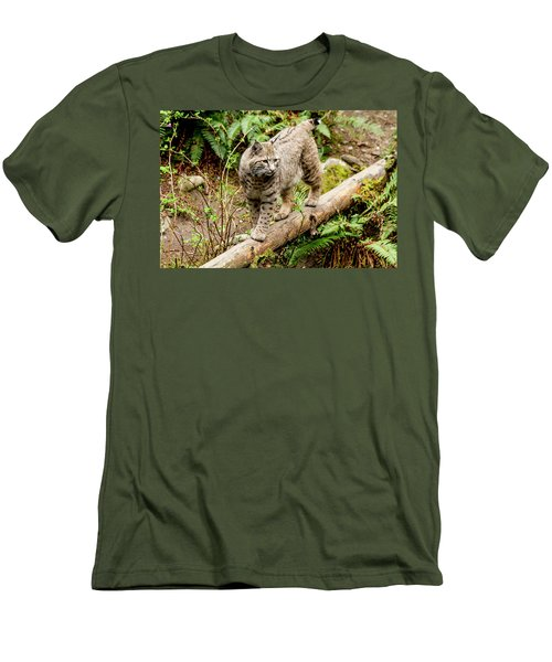 Bobcat In Forest Men's T-Shirt (Slim Fit) by Teri Virbickis