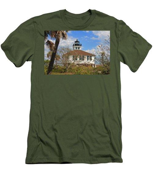 Men's T-Shirt (Slim Fit) featuring the photograph Boca Grande Lighthouse View Two by Rosalie Scanlon