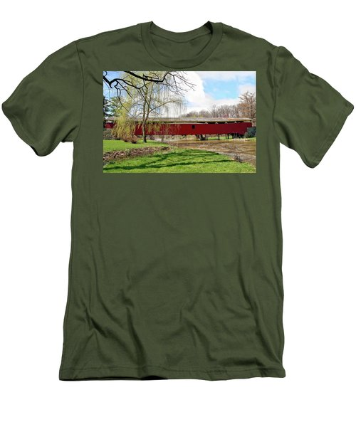 Bogert Covered Bridge Men's T-Shirt (Slim Fit) by DJ Florek