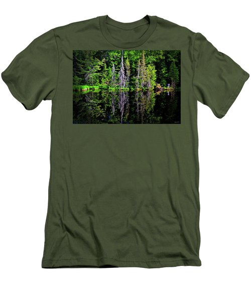 Bond Falls - Michigan 001 - Reflection Men's T-Shirt (Slim Fit) by George Bostian