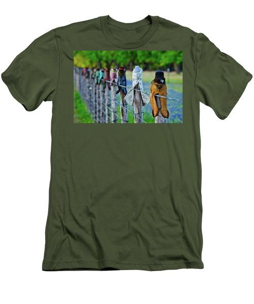Men's T-Shirt (Slim Fit) featuring the photograph Boots On The Fence by Linda Unger