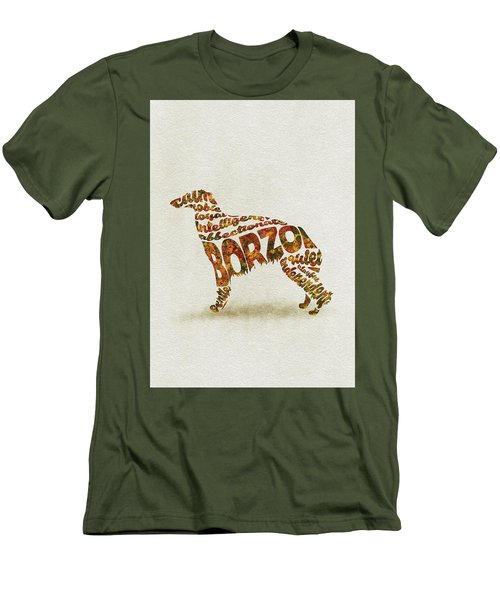 Men's T-Shirt (Athletic Fit) featuring the painting Borzoi Dog Watercolor Painting / Typographic Art by Inspirowl Design