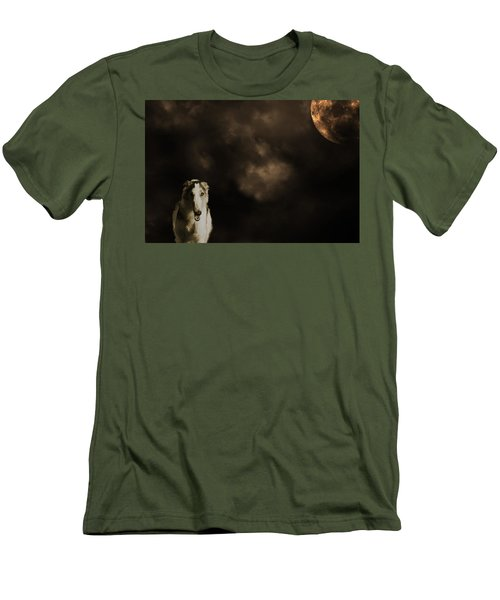 Borzoi Wolf Hound And Full Moon Men's T-Shirt (Slim Fit) by Christian Lagereek