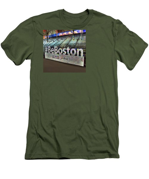 Men's T-Shirt (Slim Fit) featuring the photograph Boston Marathon Sign by Joann Vitali