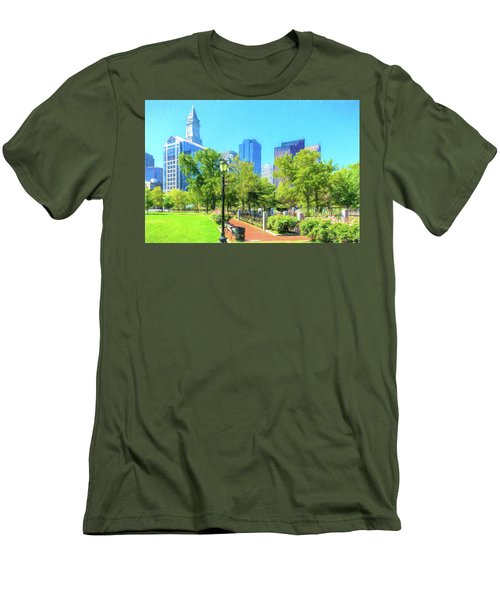 Boston Skyline From Columbus Park Men's T-Shirt (Athletic Fit)