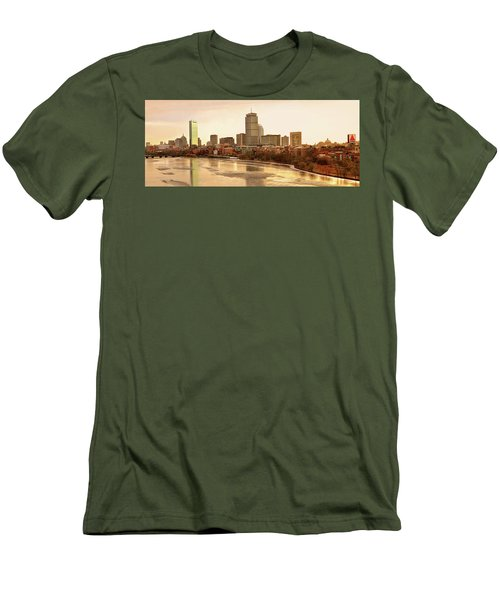 Boston Skyline On A December Morning Men's T-Shirt (Slim Fit) by Mitchell R Grosky