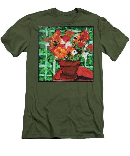 Bouquet A Day Floral Painting Original 59.00 By Elaine Elliott Men's T-Shirt (Slim Fit) by Elaine Elliott