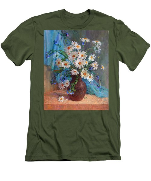 Bouquet Of Daisies In A Vase From Clay Men's T-Shirt (Athletic Fit)