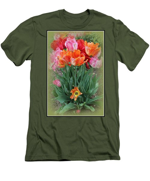 Bouquet Of Colorful Tulips Men's T-Shirt (Slim Fit) by Dora Sofia Caputo Photographic Art and Design