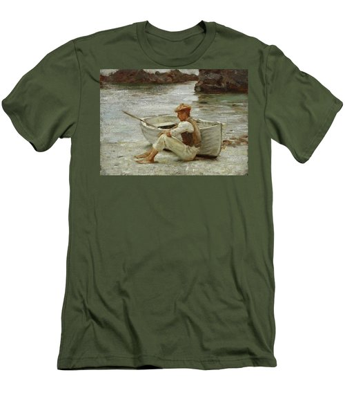Men's T-Shirt (Slim Fit) featuring the painting Boy And Boat  by Henry Scott Tuke