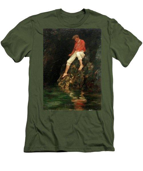 Men's T-Shirt (Slim Fit) featuring the painting Boy Fishing On Rocks  by Henry Scott Tuke