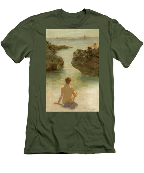 Men's T-Shirt (Slim Fit) featuring the painting Boy On A Beach, 1901 by Henry Scott Tuke