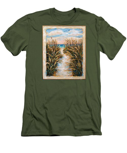 Breezy Sea Oats Men's T-Shirt (Slim Fit) by Linda Olsen