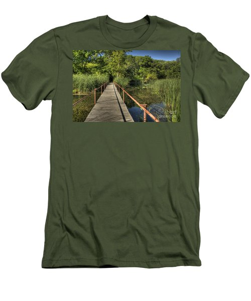 Men's T-Shirt (Slim Fit) featuring the photograph Bridge Into The Forest At Lake Murray by Tamyra Ayles