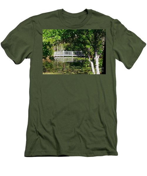 Men's T-Shirt (Athletic Fit) featuring the photograph Bridge On Lilly Pond by Lori Mellen-Pagliaro