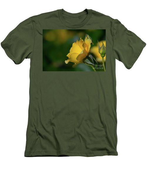 Bright Yellow Walking On Sunshine Rose Men's T-Shirt (Athletic Fit)