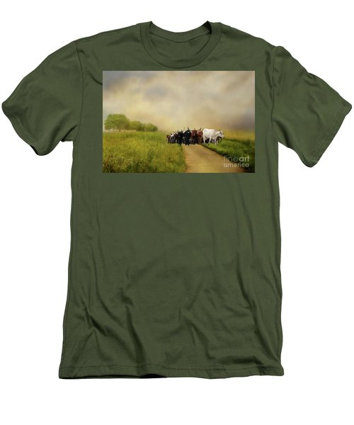 Bringing The Herd Home Men's T-Shirt (Slim Fit) by Myrna Bradshaw