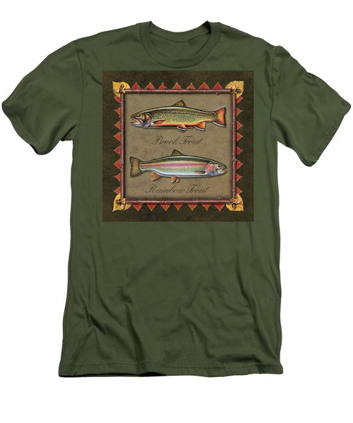 Brook And Rainbow Trout Men's T-Shirt (Slim Fit) by JQ Licensing