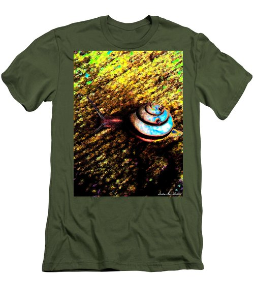 Men's T-Shirt (Athletic Fit) featuring the digital art Brooklyn Snail by Iowan Stone-Flowers