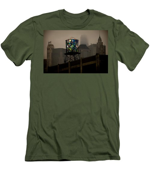 Men's T-Shirt (Slim Fit) featuring the photograph Brooklyn Water Tower by Chris Lord
