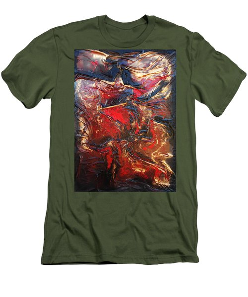 Brown, Red And Gold Men's T-Shirt (Athletic Fit)