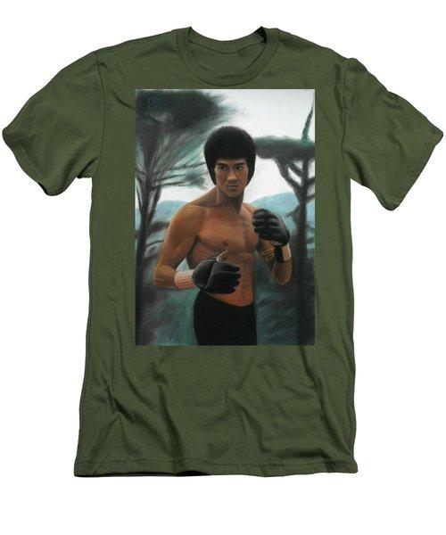 Bruce Lee - The Concentration  Men's T-Shirt (Slim Fit) by Vishvesh Tadsare