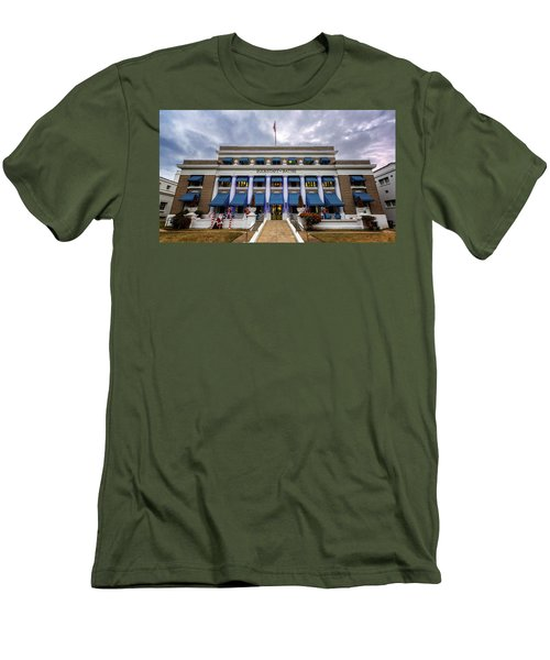 Men's T-Shirt (Slim Fit) featuring the photograph Buckstaff Bathhouse - Christmas by Stephen Stookey