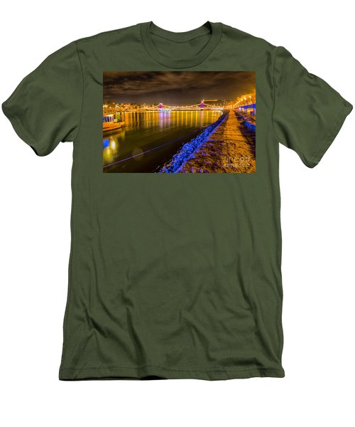 Men's T-Shirt (Slim Fit) featuring the photograph Budapest At Night Lanchid Chain Bridge by Jivko Nakev