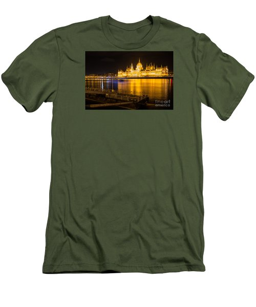 Men's T-Shirt (Slim Fit) featuring the photograph Budapest Night View Parliament by Jivko Nakev
