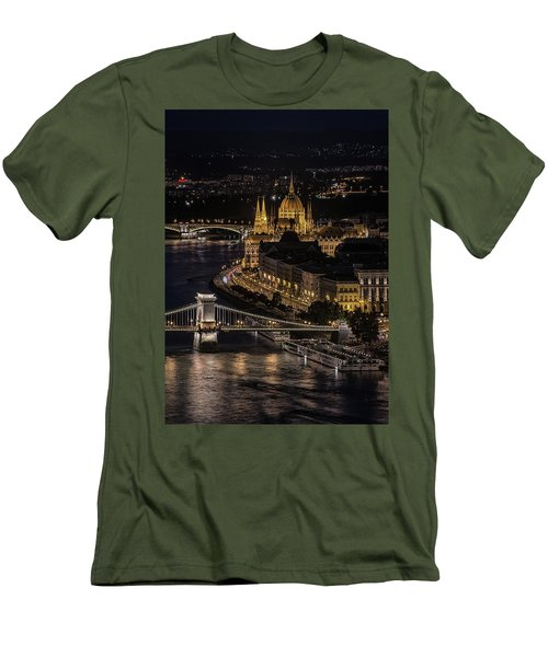 Budapest View At Night Men's T-Shirt (Slim Fit) by Jaroslaw Blaminsky