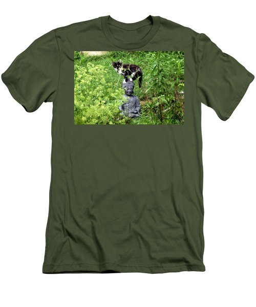 Men's T-Shirt (Slim Fit) featuring the photograph Buddha And Friend by Cynthia Lassiter