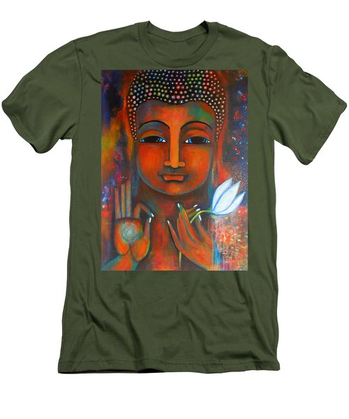 Men's T-Shirt (Slim Fit) featuring the painting Buddha With A White Lotus In Earthy Tones by Prerna Poojara