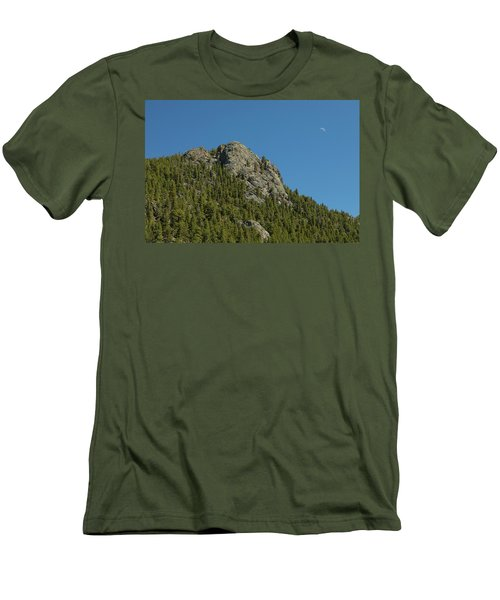 Men's T-Shirt (Slim Fit) featuring the photograph Buffalo Rock With Waxing Crescent Moon by James BO Insogna