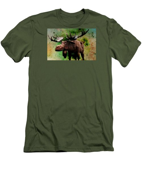 Men's T-Shirt (Slim Fit) featuring the digital art Bull Moose by Robin Regan