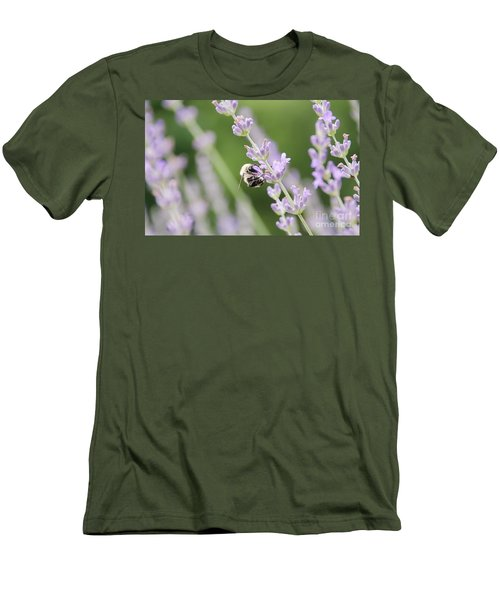 Men's T-Shirt (Athletic Fit) featuring the photograph Bumblebee On The Lavender Field 2 by Andrea Anderegg