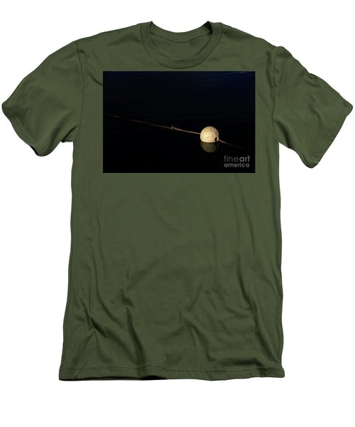 Men's T-Shirt (Athletic Fit) featuring the photograph Buoy At Night by Stephen Mitchell