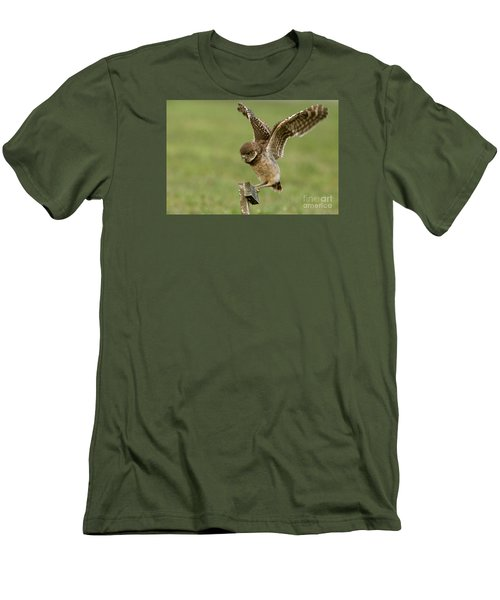 Burrowing Owl - Learning To Fly Men's T-Shirt (Slim Fit) by Meg Rousher