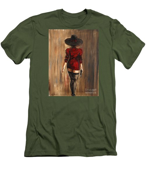 Men's T-Shirt (Slim Fit) featuring the painting Business Lady by Arturas Slapsys