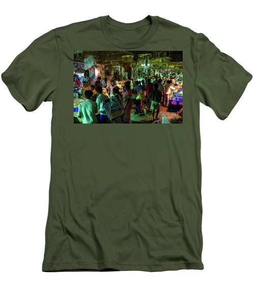 Men's T-Shirt (Slim Fit) featuring the photograph Busy Chennai India Flower Market by Mike Reid