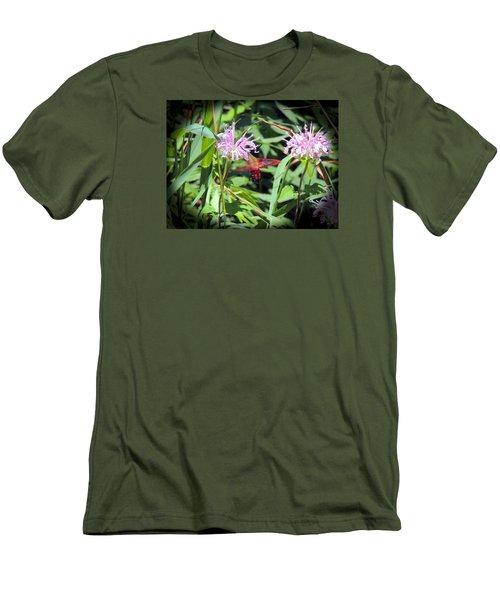 Busy Hummingbird Moth Men's T-Shirt (Slim Fit) by Teresa Schomig
