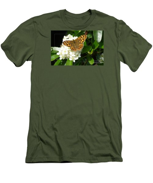 Men's T-Shirt (Slim Fit) featuring the photograph Butterfly 1 by Jean Bernard Roussilhe