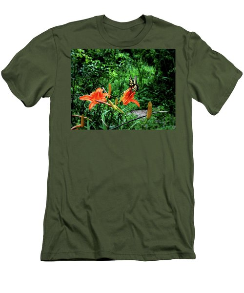 Butterfly And Canna Lilies Men's T-Shirt (Slim Fit) by Cathy Harper